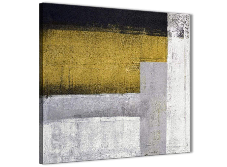 Cheap Mustard Yellow Grey Painting Bathroom Canvas Wall Art Accessories - Abstract 1s425s - 49cm Square Print