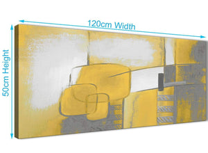 Cheap Mustard Yellow Grey Painting Bedroom Canvas Pictures Accessories - Abstract 1419 - 120cm Print