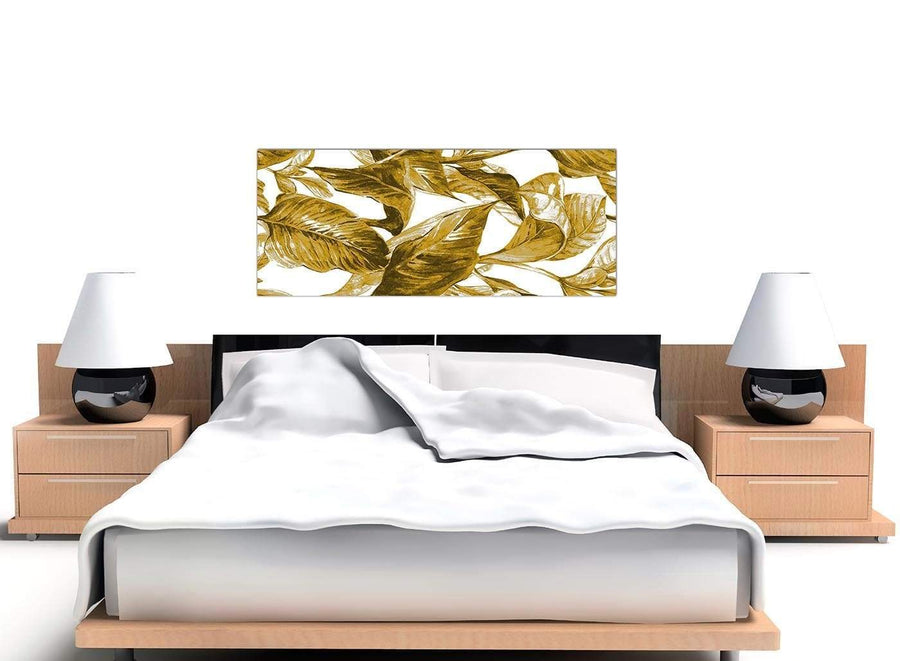 Contemporary Mustard Yellow White Tropical Leaves Canvas Modern 120cm Wide 1318 For Your Dining Room