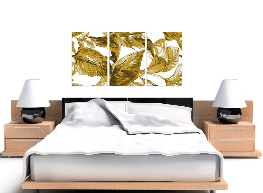 Cheap Mustard Yellow White Tropical Leaves Canvas Split 3 Panel 3318 For Your Dining Room