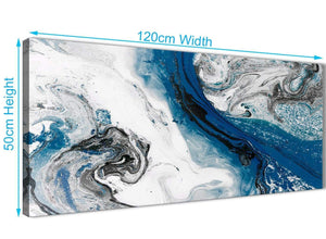 Cheap Blue and Grey Swirl Living Room Canvas Wall Art Accessories - Abstract 1465 - 120cm Print