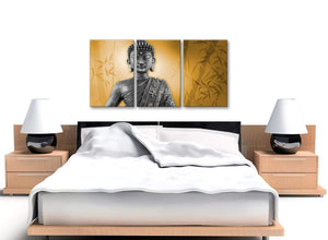 Cheap Orange And Grey Silver Wall Art Prints Of Buddha Canvas Split Set Of 3 3329 For Your Hallway