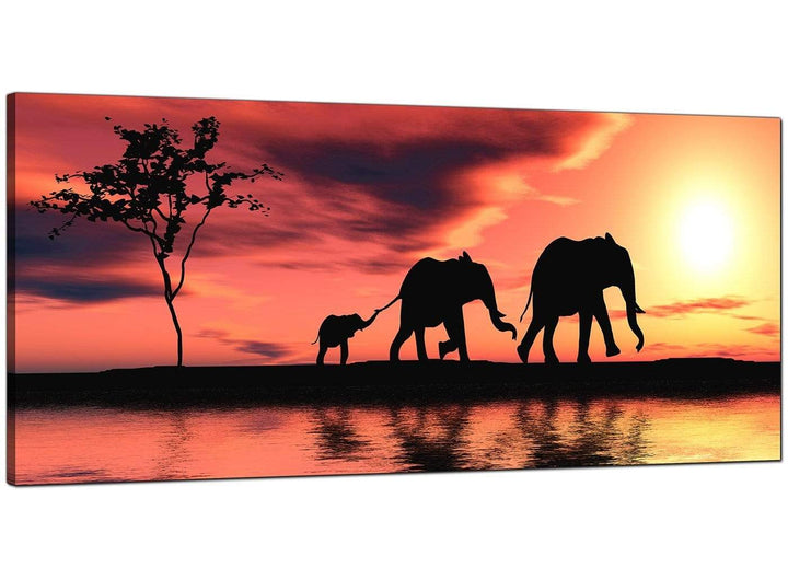 Orange Bedroom Wide Canvas of African Sunset
