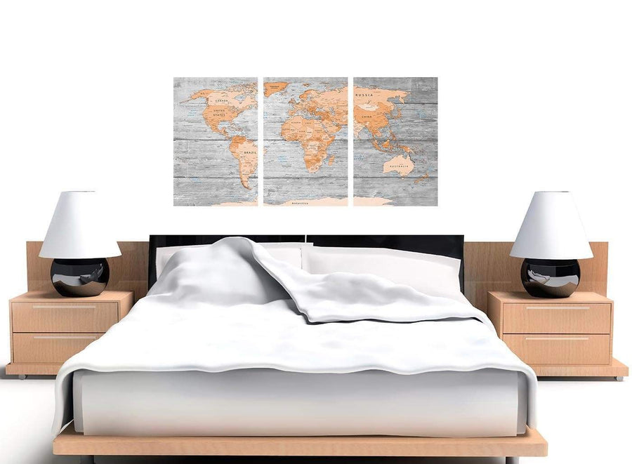 Cheap Orange Cream Large Orange Grey Map Of World Atlas Canvas Wall Art Print Maps Canvas Multi Triptych 3304 For Your Dining Room