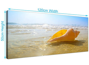 Panoramic Tropical Beach and Seashell Canvas Prints UK 120cm x 50cm 1148