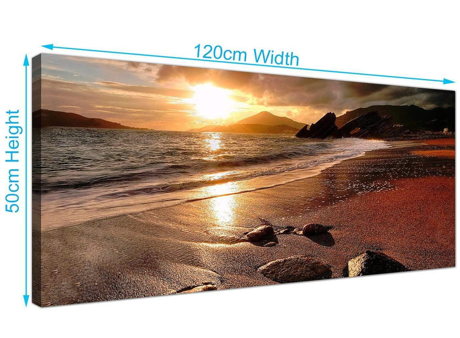 Wide Seaside Ocean Canvas Pictures 120cm x 50cm 1131
