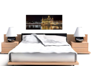 cheap panoramic black and white sikh golden temple canvas wall art 1195
