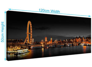 Cheap River Thames Canvas Art 120cm x 50cm 1186