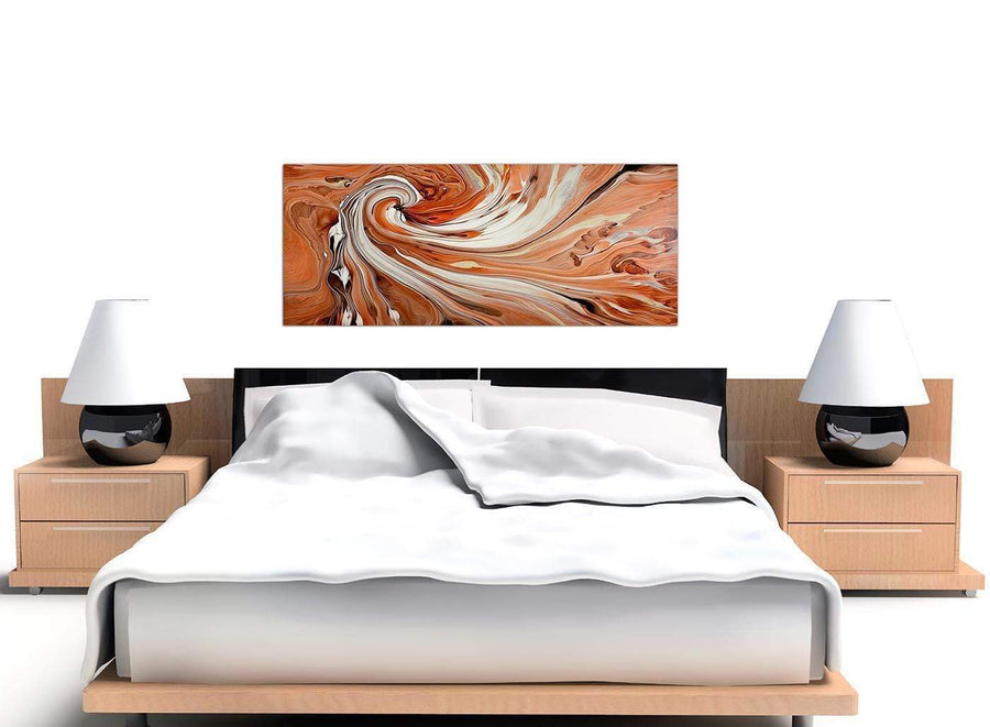cheap panoramic orange abstract swirl canvas wall art 1264