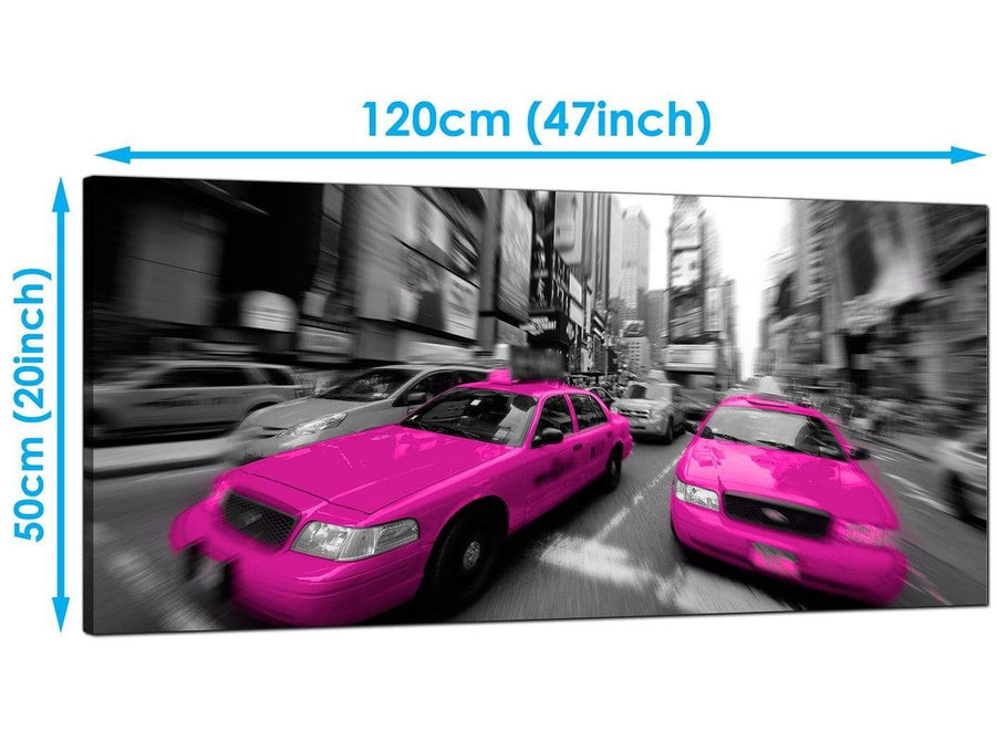 Cheap Pink Wide Canvas of Nyc Taxi