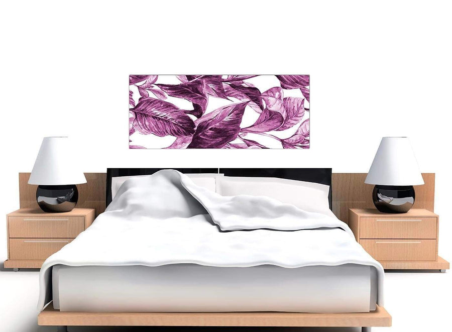 Cheap Plum Aubergine White Tropical Leaves Canvas Modern 120cm Wide 1319 For Your Bedroom