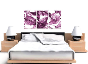 Cheap Plum Aubergine White Tropical Leaves Canvas Multi 3 Set 3319 For Your Living Room