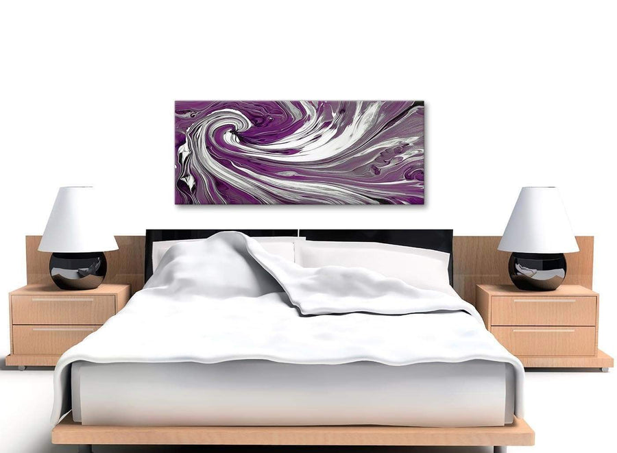 Cheap Plum Purple White Swirls Modern Abstract Canvas Wall Art Modern 120cm Wide 1353 For Your Living Room
