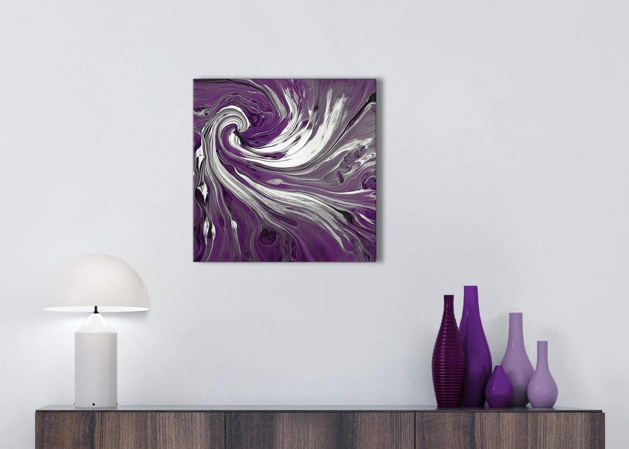 Cheap Plum Purple White Swirls Modern Abstract Canvas Wall Art Modern 49cm Square 1S353S For Your Bedroom