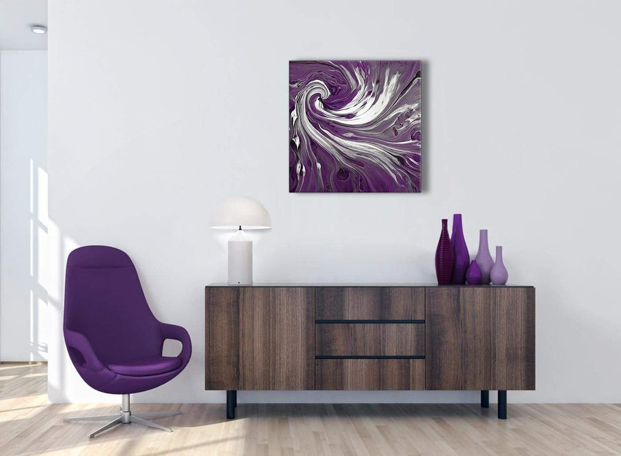 Cheap Plum Purple White Swirls Modern Abstract Canvas Wall Art Modern 64cm Square 1S353M For Your Bedroom