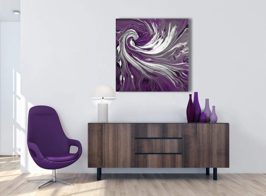 Cheap Plum Purple White Swirls Modern Abstract Canvas Wall Art Modern 79cm Square 1S353L For Your Living Room