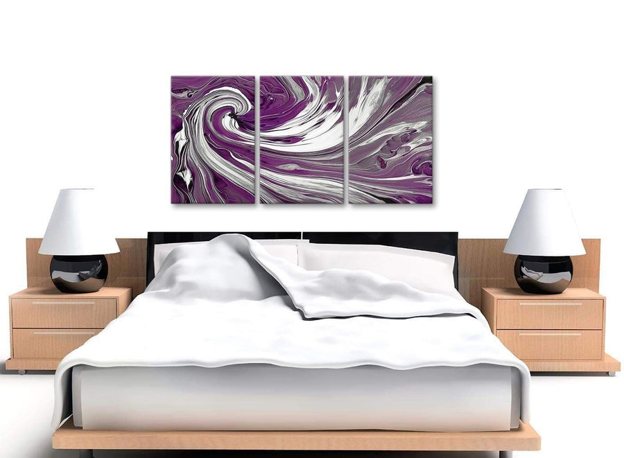 Cheap Plum Purple White Swirls Modern Abstract Canvas Wall Art Split 3 Set 125cm Wide 3353 For Your Bedroom