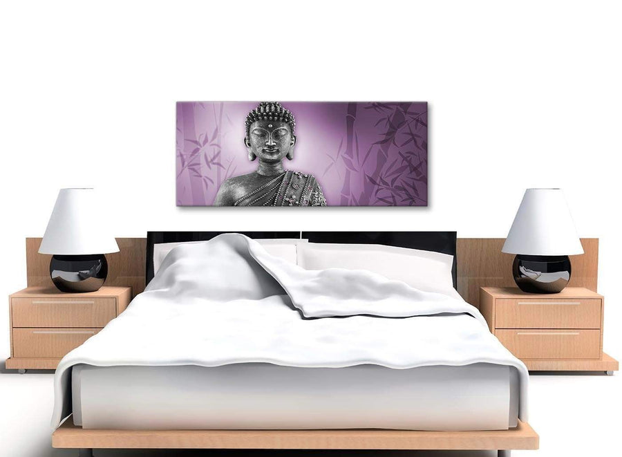 Cheap Purple And Grey Silver Wall Art Prints Of Buddha Canvas Modern 120cm Wide 1330 For Your Hallway