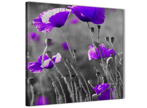 Cheap Purple Poppy Grey Black White Flower Floral Bathroom Canvas Wall Art Accessories - Abstract 1s136s - 49cm Square Print