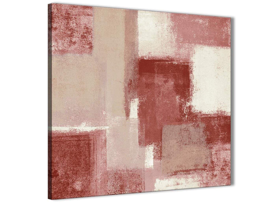 Cheap Red and Cream Kitchen Canvas Pictures Accessories - Abstract 1s370s - 49cm Square Print
