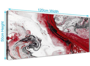 Cheap Red and Grey Swirl Bedroom Canvas Pictures Accessories - Abstract 1467 - 120cm Print
