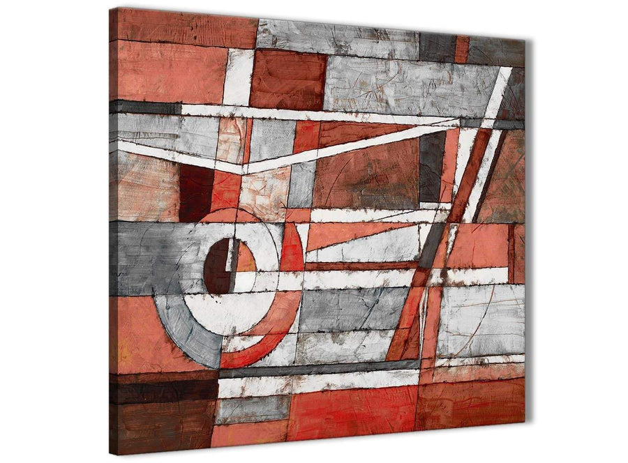 Cheap Red Grey Painting Kitchen Canvas Pictures Accessories - Abstract 1s401s - 49cm Square Print
