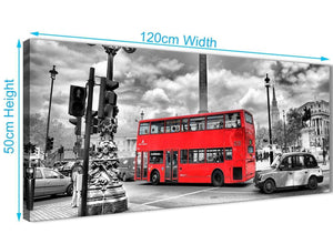 Cheap Red London Bus - Street Scene Cityscape Living Room Canvas Wall Art Accessories - 1210 - 120cm Print