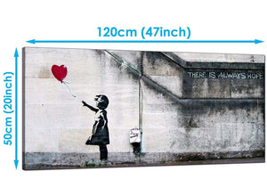 Living-Room Red Wide Canvas of Banksy Graffiti