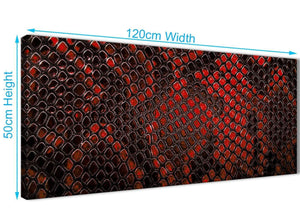 Cheap Red Snakeskin Animal Print Living Room Canvas Pictures Accessories - Abstract 1476 - 120cm Print