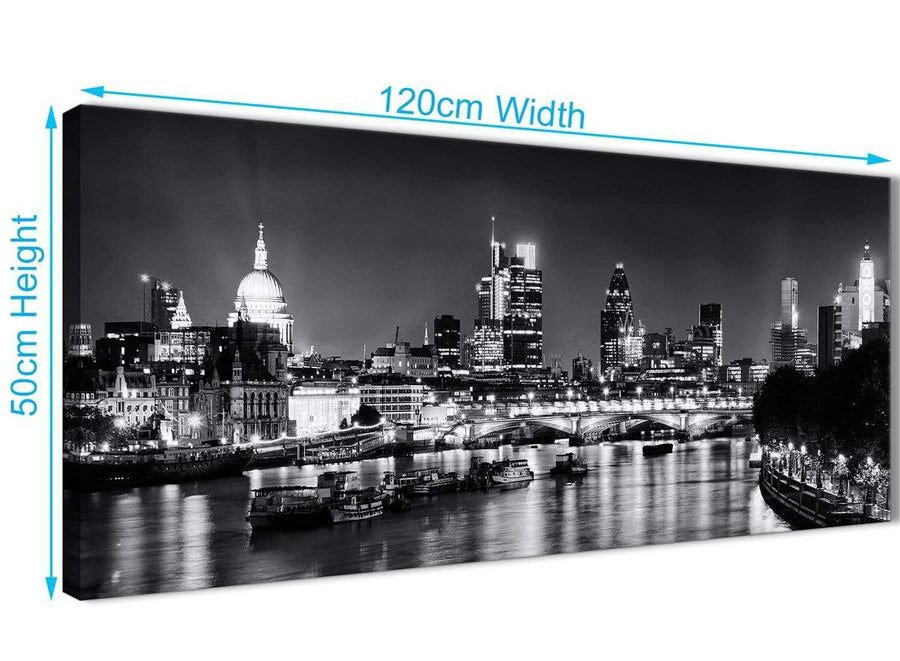 Cheap River Thames Skyline of London Canvas Wall Art - Landscape - 1430 Black White Grey - 120cm Wide Print