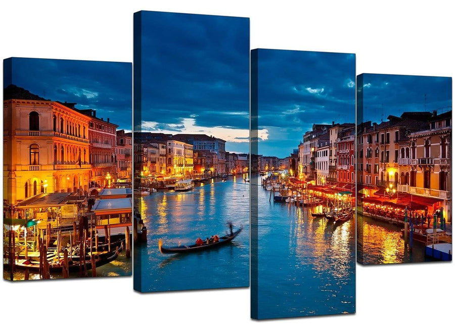 4 Piece Set of Living-Room Blue Canvas Picture