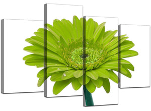 Set Of Four Modern Lime Green Canvas Wall Art