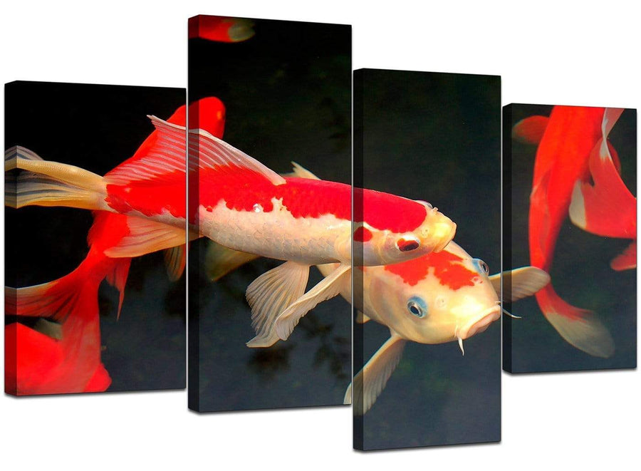 4 Panel Set of Living-Room Red Canvas Wall Art