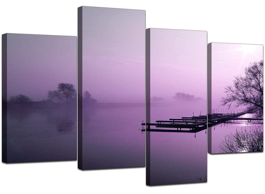 4 Part Set of Living-Room Purple Canvas Art