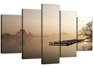 5 Piece Set of Cheap Brown Canvas Wall Art