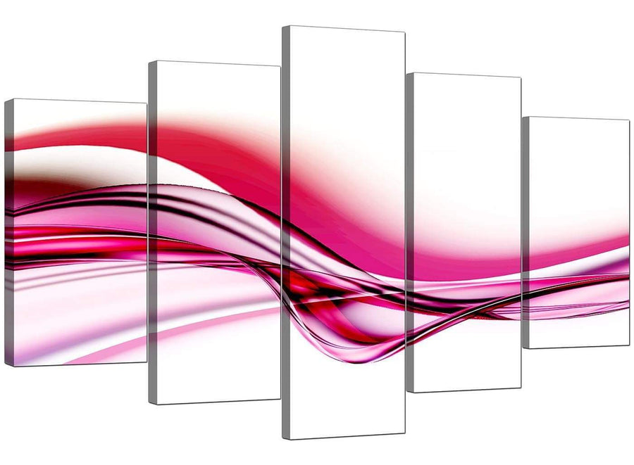 Set Of Five Modern Pink Canvas Prints