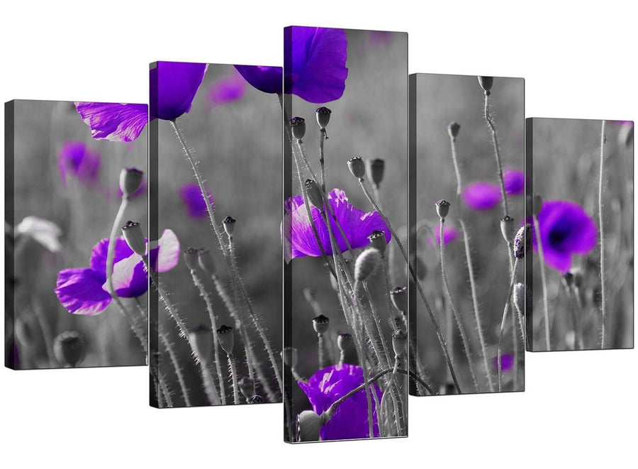 Five Part Set of Extra-Large Purple Canvas Picture