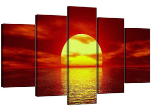 5 Panel Set of Extra-Large Red Canvas Picture