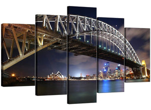Set Of Five Living-Room Blue Canvas Picture