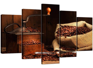 5 Panel Set of Modern Brown Canvas Art