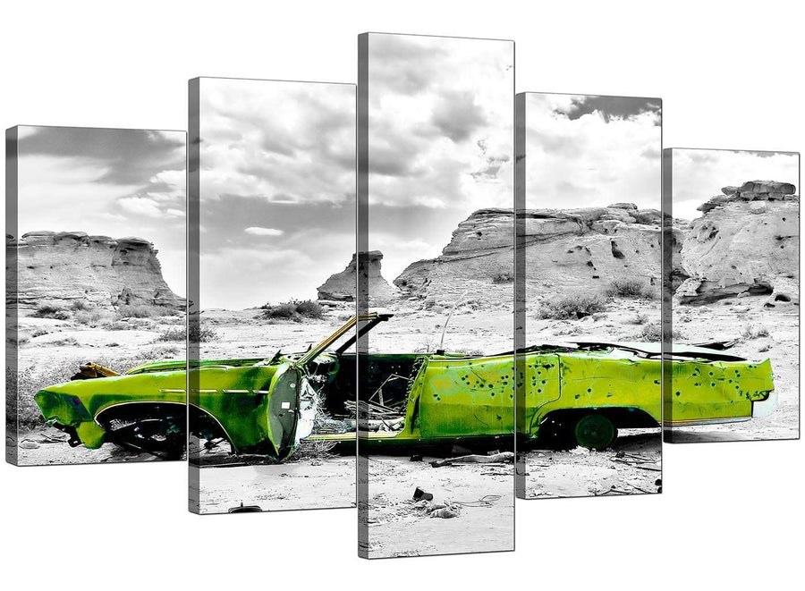 Set Of Five Cheap Green Canvas Picture