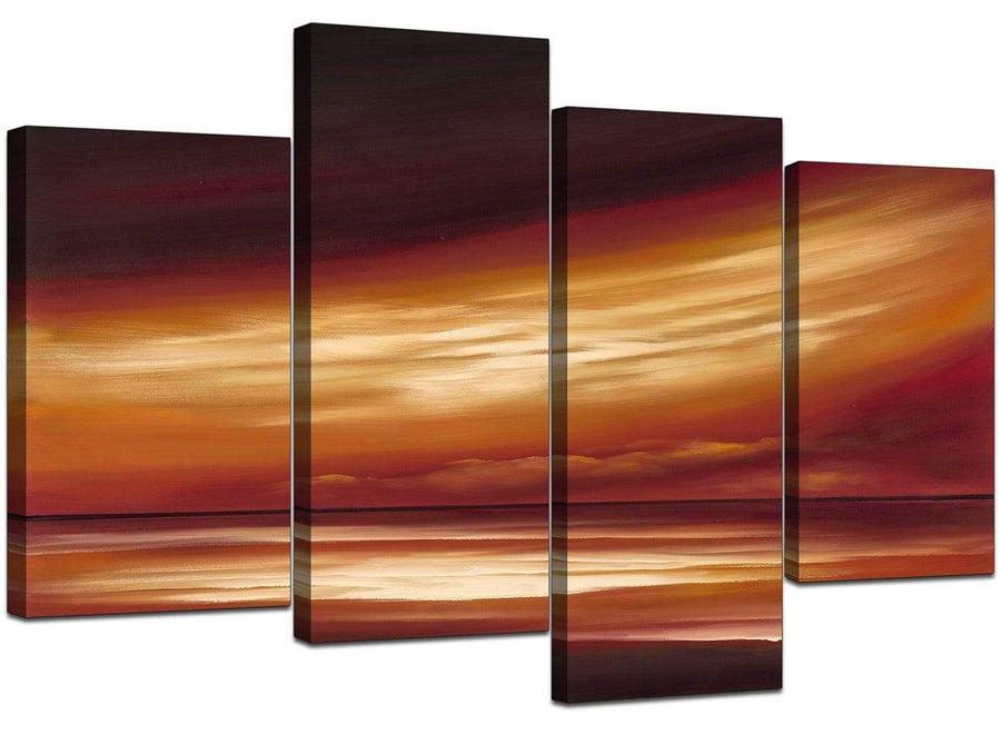 4 Part Set of Modern Beige Canvas Picture
