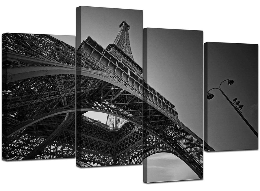 4 Panel Set of Living-Room Black White Canvas Pictures