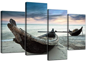Four Panel Set of Living-Room Blue Canvas Pictures