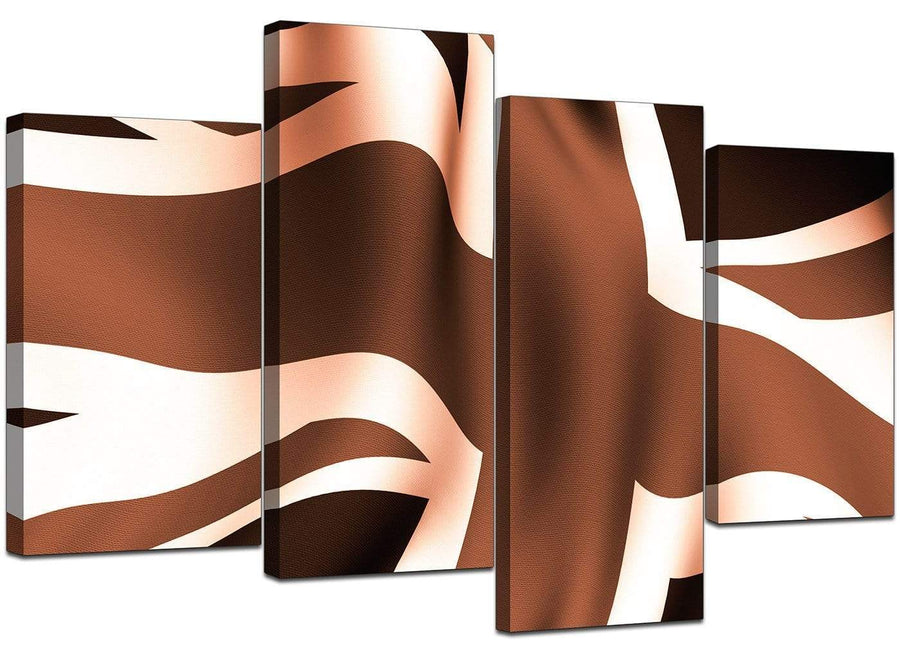 4 Part Set of Living-Room Brown Canvas Art