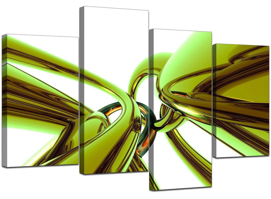 Set Of Four Living-Room Lime Green Canvas Art
