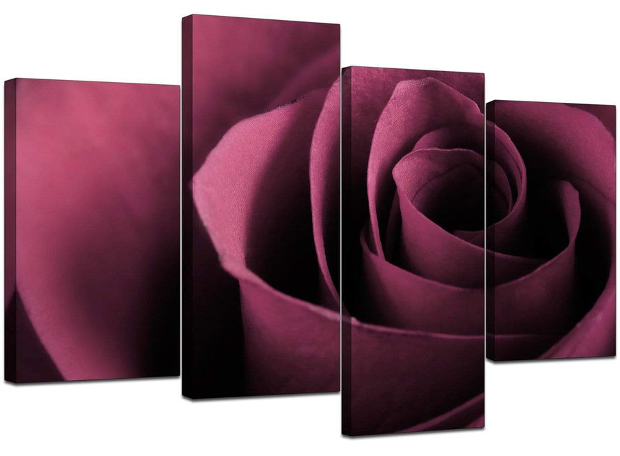Set Of 4 Living-Room Plum Canvas Pictures