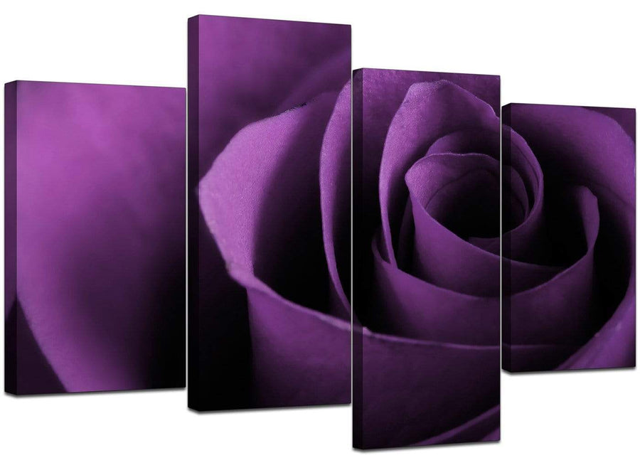 Set Of Four Living-Room Purple Canvas Picture