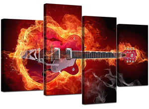 4 Part Set of Modern Red Canvas Pictures