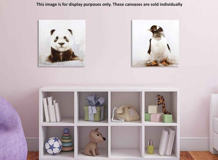 Cheap square black and white baby panda canvas wall art 1s250m
